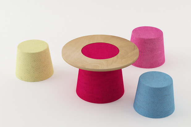 Mushroom, a kid stools and table collection for Actus