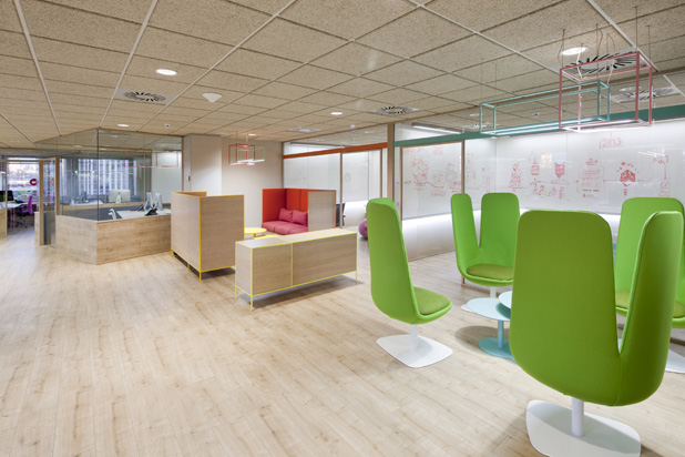 The interior design of Wink's office in Madrid