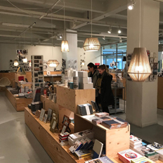 OlebyFm lamps in the bookshop at FOMU in Antwerp (Belgium). Photo Courtesy by OlebyFm