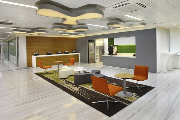LINEAL armchairs and DUAL tables by Lievore Altherr Molina for Andreu World at the Microsoft Offices in India. Photo courtesy of Andreu World.
