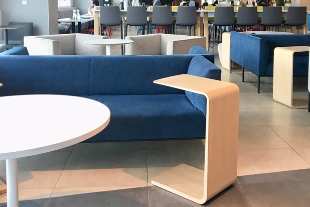 RAGLAN sofas by Piergiorgio Cazzaniga and ARC tables by Manel Molina for Andreu World at the Google Offices in Bangalore, India. Photo courtesy of Andreu World.