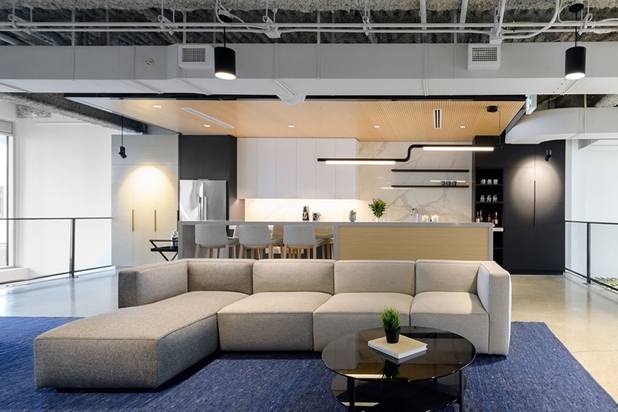 DADO sofa by Alfredo Habërli, FLEX chairs and RUTA table by Pearson Lloyd for Andreu World at the Woodward Offices in Vancouver (Canada). Photo courtesy of Andreu World.