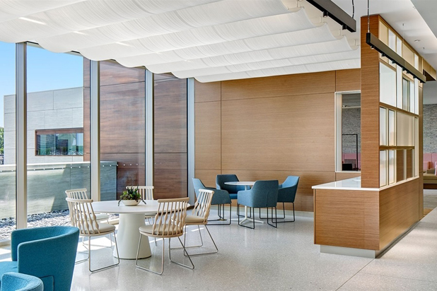 NUB chairs by Patricia Urquiola y ALYA chairs by Lievore Altherr Molina for Andreu World at the Memorial Sloan Kettering Cancer Center in Nwe York, USA. Photo courtesy of Andreu World.