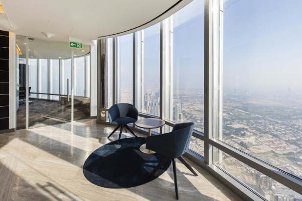 BRANDY chairs and DUAL tables by Lievore Altherr Molina for Andreu World at the BRS Investments Offices in the Dubai´s Burj Khalifa skyscraper, UAE. Photo courtesy of Andreu World.
