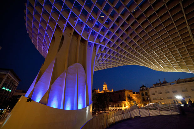 LEDS-C4 lights at the Metropol Parasol market in Seville, Spain