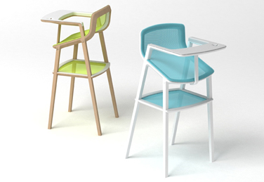 A set of elegant, very functional high chairs