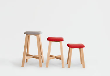 Bevel stools, designed by Sohei Arao