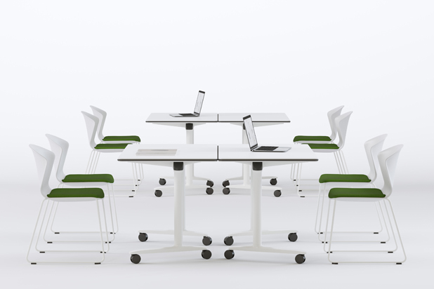 TALENT tables and WHASS PRO chairs by ITEMdesignworks for Actiu. Photo: Courtesy of Actiu