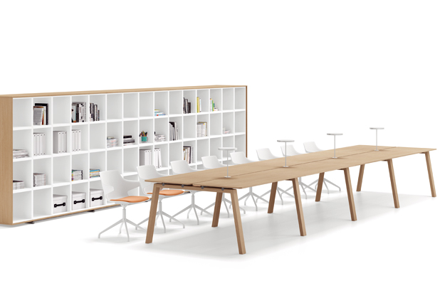 STONE table, ROLLING storage and ANGIE chairs by Josep Lluscà for Vilagrasa by Resol Group.  Photo: Courtesy of Vilagrasa