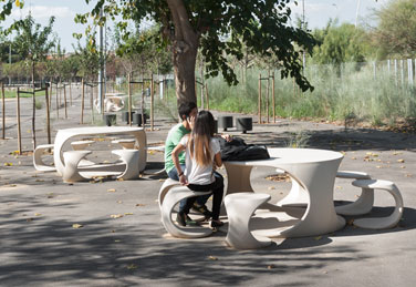 ODOS stool and table,  designed by SCOB arquitectes