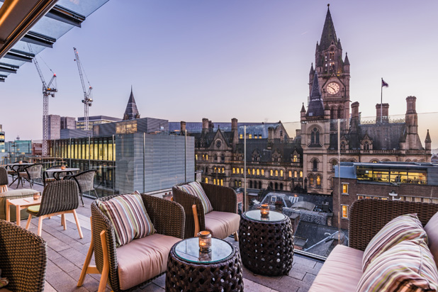 ROUND, HAMP, HAVANA collections on the terrace of Manchester's King Street Townhouse Hotel, UK