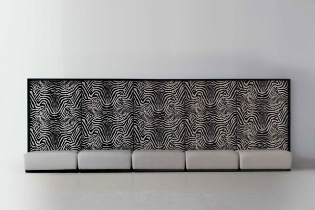 Zebra panel and pouff. Fortune II collection