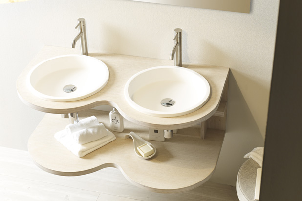 BELTED washbasin and bathfurniture (NATURAL SERIES), designed by Pascual Salvador for Bathco