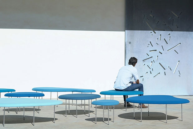 DROPLETS benches, designed by Claesson Koivisto Rune. Photo courtesy of Capdell