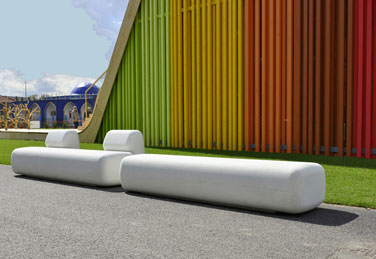 SIT plastic bench, designed by Diego Fortunato