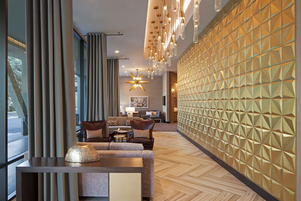 Wall tiles by Dune at the Hotel H Curio collection by Hilton in Los Angeles (US). Photo: Courtesy of DUNE.