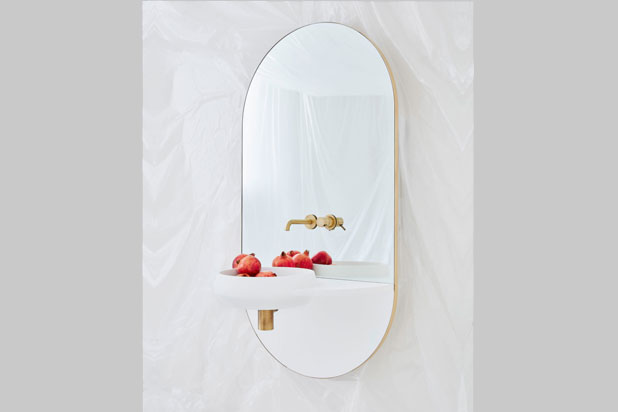 ARCO washbasin and mirror by Mut Design for Ex.t. Photo:  Courtesy of Mut