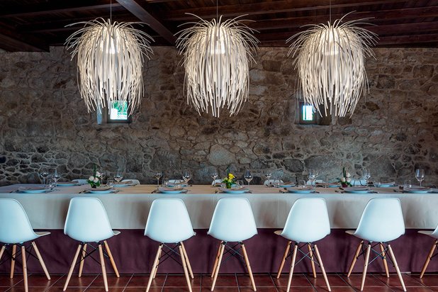 Porta do Sol de Lamela restaurant in Silleda,  Spain. TINA pendant lamps