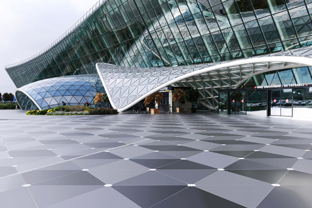 Dekton flooring slabs in the Sirius finish. Baku airport, Azerbaijan