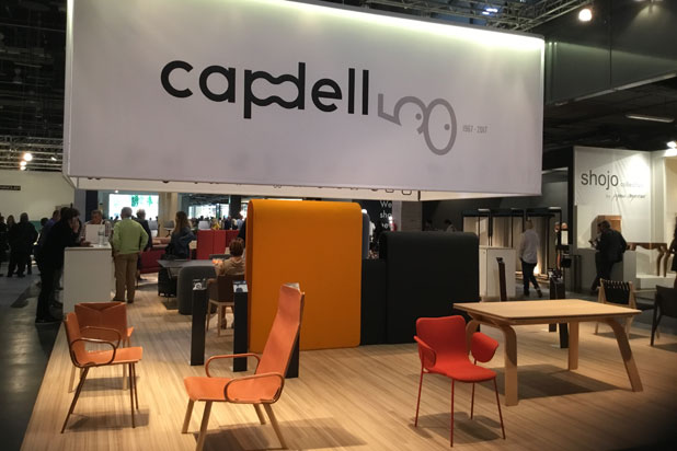 Ply chair collection, Miró chair and Libris table at Capdell stand