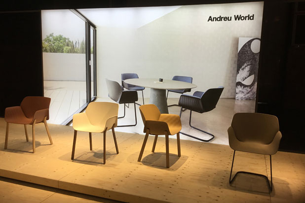 Nuez chair collection, designed by Patricia Urquiola at Andreu World stand
